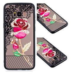 Rose Lace Diamond Flower Soft TPU Back Cover for Samsung Galaxy S8