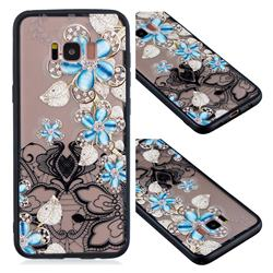 Lilac Lace Diamond Flower Soft TPU Back Cover for Samsung Galaxy S8