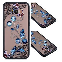 Butterfly Lace Diamond Flower Soft TPU Back Cover for Samsung Galaxy S8