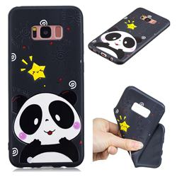 Cute Bear 3D Embossed Relief Black TPU Cell Phone Back Cover for Samsung Galaxy S8
