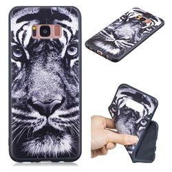 White Tiger 3D Embossed Relief Black TPU Cell Phone Back Cover for Samsung Galaxy S8