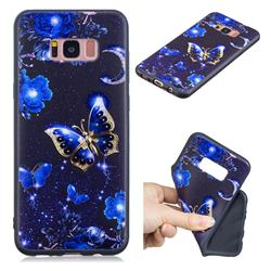 Phnom Penh Butterfly 3D Embossed Relief Black TPU Cell Phone Back Cover for Samsung Galaxy S8