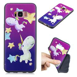 Pony 3D Embossed Relief Black TPU Cell Phone Back Cover for Samsung Galaxy S8