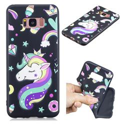 Candy Unicorn 3D Embossed Relief Black TPU Cell Phone Back Cover for Samsung Galaxy S8