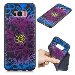 Colorful Lace 3D Embossed Relief Black TPU Cell Phone Back Cover for Samsung Galaxy S8