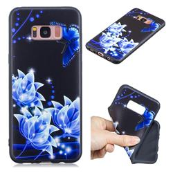 Blue Butterfly 3D Embossed Relief Black TPU Cell Phone Back Cover for Samsung Galaxy S8