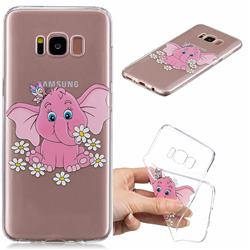 Tiny Pink Elephant Clear Varnish Soft Phone Back Cover for Samsung Galaxy S8