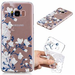 Magnolia Flower Clear Varnish Soft Phone Back Cover for Samsung Galaxy S8