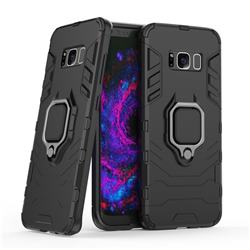 Black Panther Armor Metal Ring Grip Shockproof Dual Layer Rugged Hard Cover for Samsung Galaxy S8 - Black