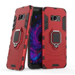 Black Panther Armor Metal Ring Grip Shockproof Dual Layer Rugged Hard Cover for Samsung Galaxy S8 - Red