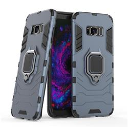 Black Panther Armor Metal Ring Grip Shockproof Dual Layer Rugged Hard Cover for Samsung Galaxy S8 - Blue