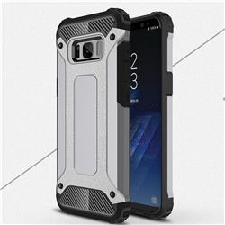 King Kong Armor Premium Shockproof Dual Layer Rugged Hard Cover for Samsung Galaxy S8 - Silver Grey