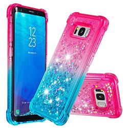 Rainbow Gradient Liquid Glitter Quicksand Sequins Phone Case for Samsung Galaxy S8 - Pink Blue