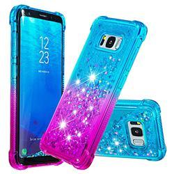 Rainbow Gradient Liquid Glitter Quicksand Sequins Phone Case for Samsung Galaxy S8 - Blue Purple