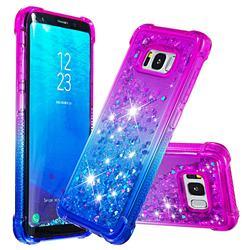Rainbow Gradient Liquid Glitter Quicksand Sequins Phone Case for Samsung Galaxy S8 - Purple Blue
