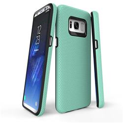 Triangle Texture Shockproof Hybrid Rugged Armor Defender Phone Case for Samsung Galaxy S8 - Mint Green