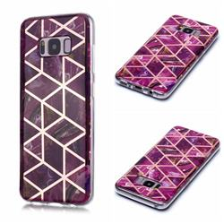 Purple Rhombus Galvanized Rose Gold Marble Phone Back Cover for Samsung Galaxy S8