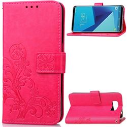 Embossing Imprint Four-Leaf Clover Leather Wallet Case for Samsung Galaxy S8 - Rose