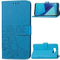 Embossing Imprint Four-Leaf Clover Leather Wallet Case for Samsung Galaxy S8 - Blue