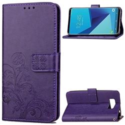 Embossing Imprint Four-Leaf Clover Leather Wallet Case for Samsung Galaxy S8 - Purple