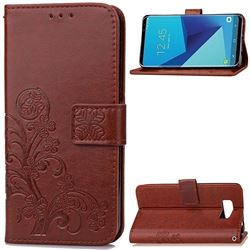 Embossing Imprint Four-Leaf Clover Leather Wallet Case for Samsung Galaxy S8 - Brown