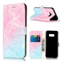 Pink Green Marble PU Leather Wallet Case for Samsung Galaxy S8