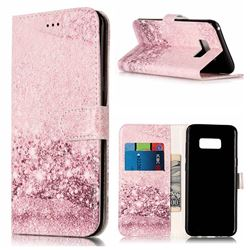 Glittering Rose Gold PU Leather Wallet Case for Samsung Galaxy S8