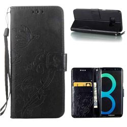 Embossing Butterfly Flower Leather Wallet Case for Samsung Galaxy S8 - Black