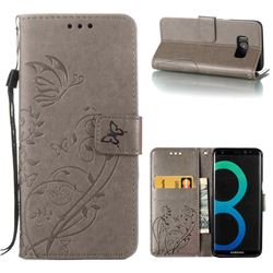 Embossing Butterfly Flower Leather Wallet Case for Samsung Galaxy S8 - Grey
