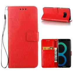 Embossing Butterfly Flower Leather Wallet Case for Samsung Galaxy S8 - Red