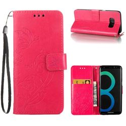 Embossing Butterfly Flower Leather Wallet Case for Samsung Galaxy S8 - Rose