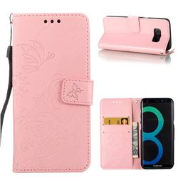 Embossing Butterfly Flower Leather Wallet Case for Samsung Galaxy S8 - Pink