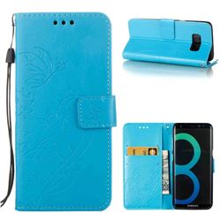Embossing Butterfly Flower Leather Wallet Case for Samsung Galaxy S8 - Blue