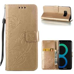 Embossing Butterfly Flower Leather Wallet Case for Samsung Galaxy S8 - Champagne