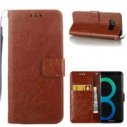 Embossing Butterfly Flower Leather Wallet Case for Samsung Galaxy S8 - Brown