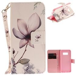 Magnolia Flower Hand Strap Leather Wallet Case for Samsung Galaxy S8