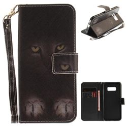 Mysterious Cat Hand Strap Leather Wallet Case for Samsung Galaxy S8