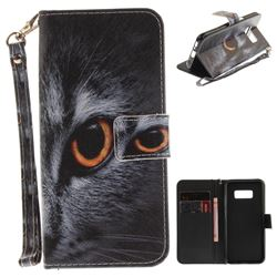 Cat Eye Hand Strap Leather Wallet Case for Samsung Galaxy S8