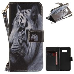 White Tiger Hand Strap Leather Wallet Case for Samsung Galaxy S8