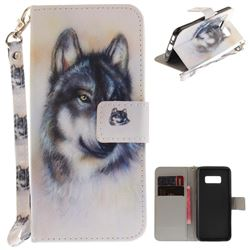 Snow Wolf Hand Strap Leather Wallet Case for Samsung Galaxy S8