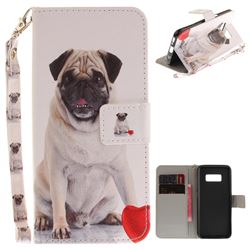 Pug Dog Hand Strap Leather Wallet Case for Samsung Galaxy S8
