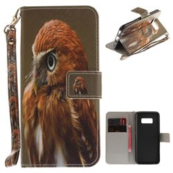 Young Eagle Hand Strap Leather Wallet Case for Samsung Galaxy S8