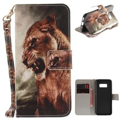 Majestic Lion Hand Strap Leather Wallet Case for Samsung Galaxy S8