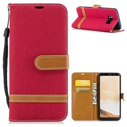 Jeans Cowboy Denim Leather Wallet Case for Samsung Galaxy S8 - Red
