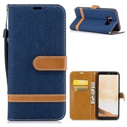 Jeans Cowboy Denim Leather Wallet Case for Samsung Galaxy S8 - Dark Blue