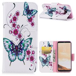 Peach Butterflies Leather Wallet Case for Samsung Galaxy S8