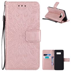 Embossing Sunflower Leather Wallet Case for Samsung Galaxy S8 - Rose Gold