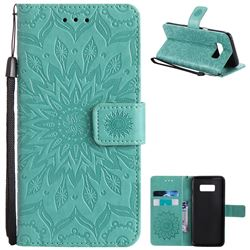 Embossing Sunflower Leather Wallet Case for Samsung Galaxy S8 - Green