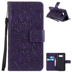Embossing Sunflower Leather Wallet Case for Samsung Galaxy S8 - Purple