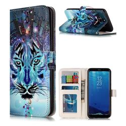 Ice Wolf 3D Relief Oil PU Leather Wallet Case for Samsung Galaxy S8